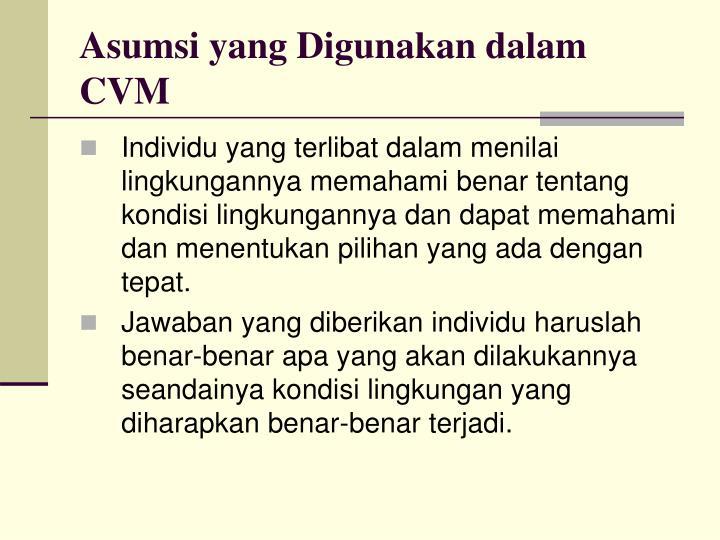 Asumsi yang Digunakan dalam CVM