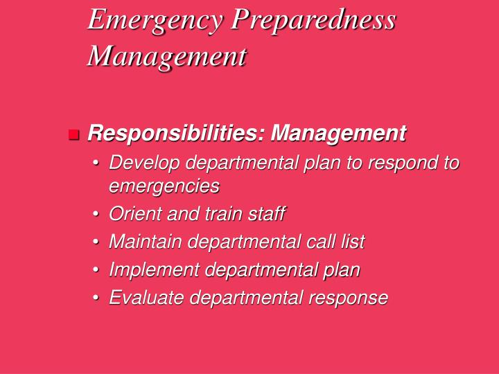 Emergency Preparedness Management