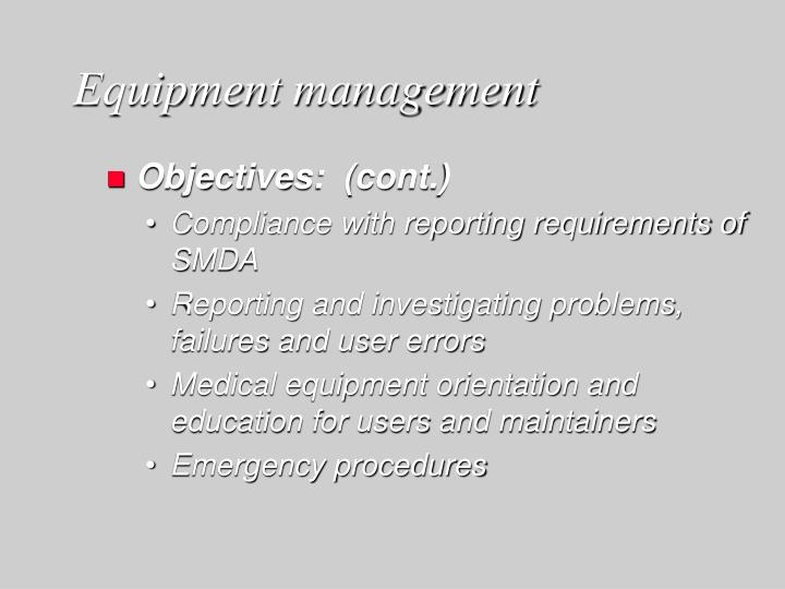 Equipment management