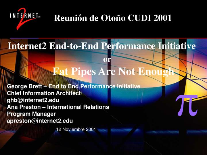 internet2 end to end performance initiative or fat pipes are not enough n.