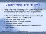 country profile brief history ii
