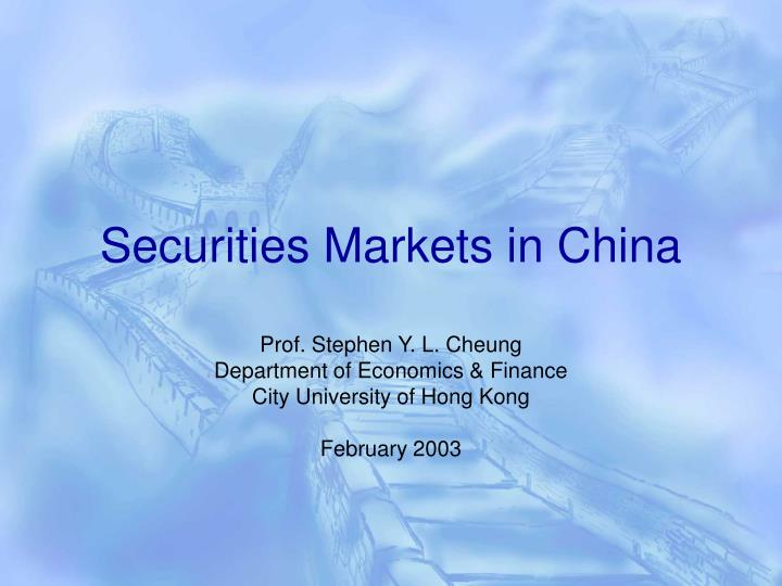 securities markets in china n.