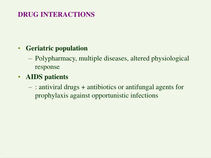 drug interactions n.