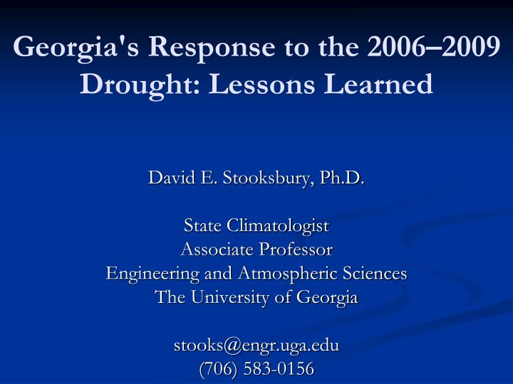 georgia s response to the 2006 2009 drought lessons learned n.