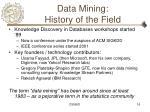 data mining history of the field