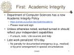 first academic integrity