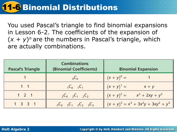 You used Pascal's triangle to find binomial expansions in Lesson 6-2. The coefficients of the expansion of