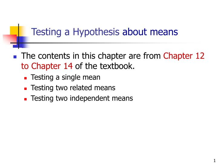 testing a hypothesis about means n.
