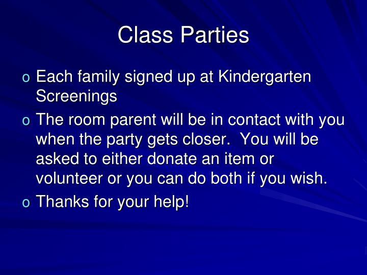 Class Parties