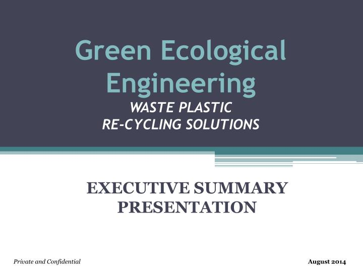 green ecological engineering waste plastic re cycling solutions n.