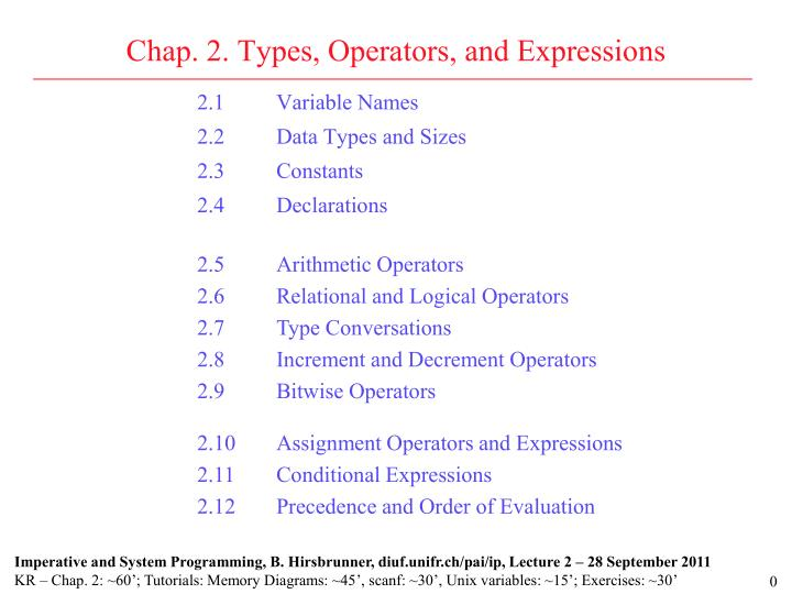 chap 2 types operators and expressions n.