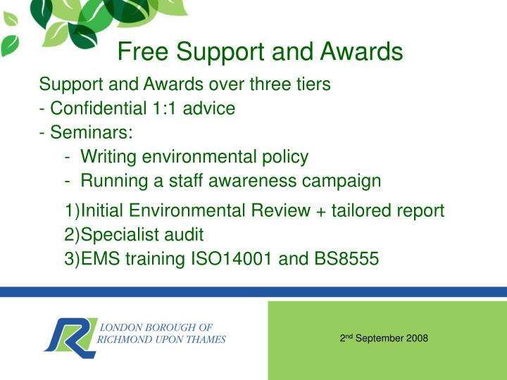 Free Support and Awards