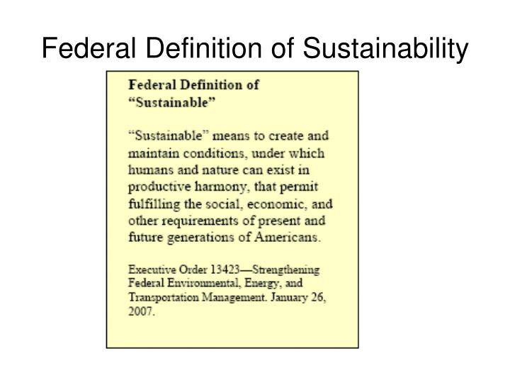 Federal Definition of Sustainability