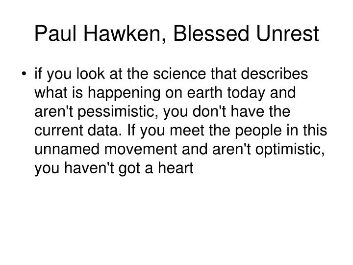 Paul Hawken, Blessed Unrest