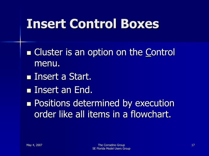 Insert Control Boxes