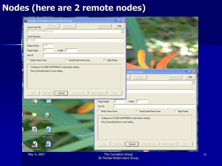 Nodes (here are 2 remote nodes)