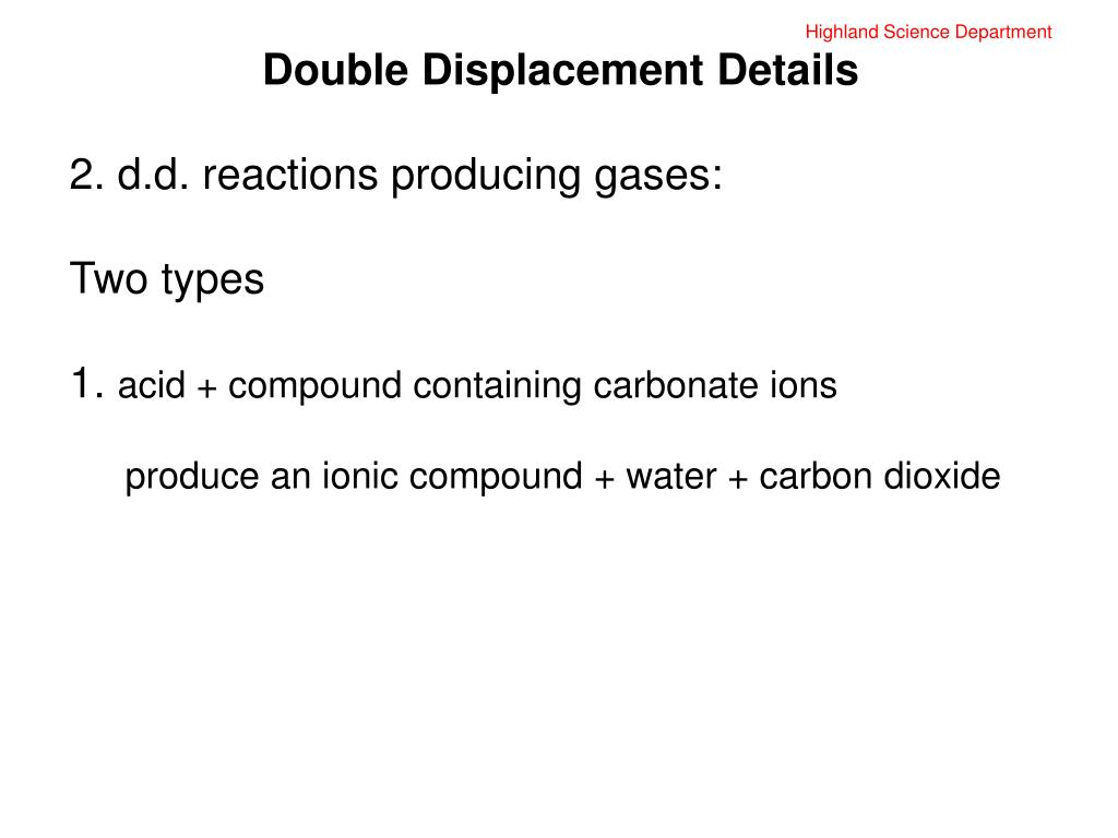 PPT - Highland Science Department Double Displacement ...