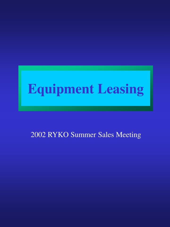 equipment leasing n.
