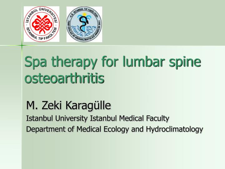 spa therapy for lumbar spine osteoarthritis n.