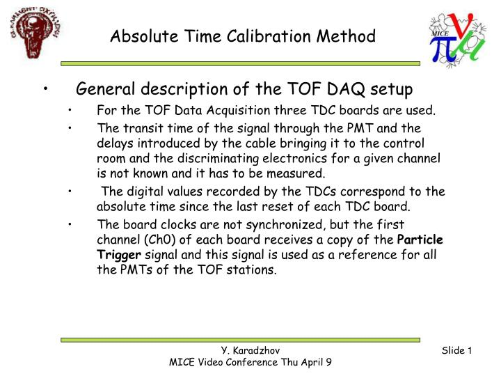 absolute time calibration method n.