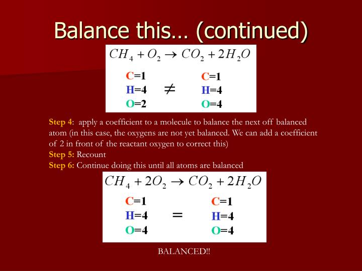 Balance this… (continued)