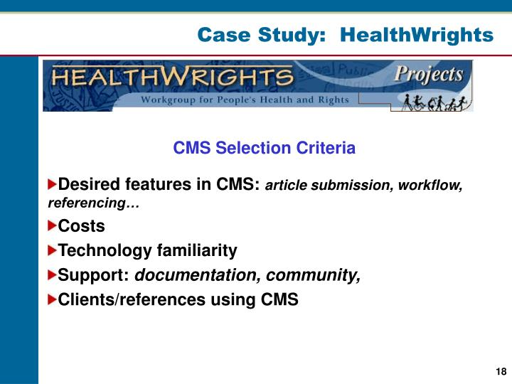 Case Study:  HealthWrights
