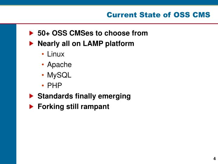 Current State of OSS CMS
