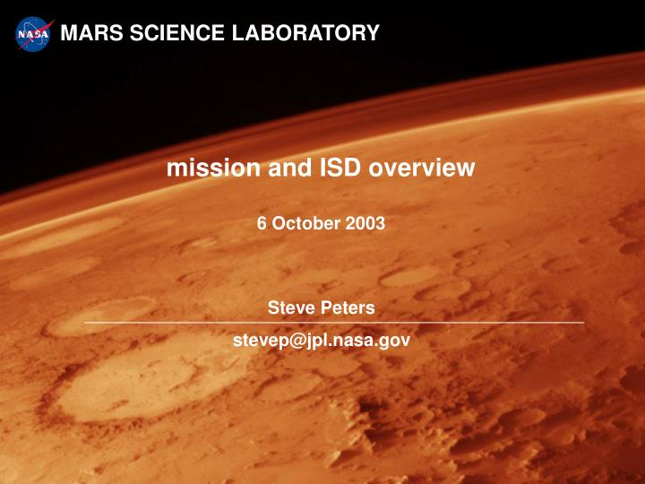 mission and isd overview 6 october 2003 n.