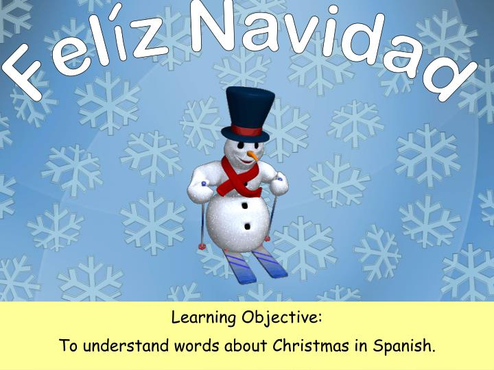 Learning objective to understand words about christmas in spanish