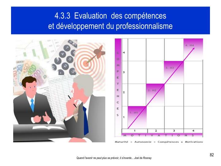 4.3.3  Evaluation  des compétences