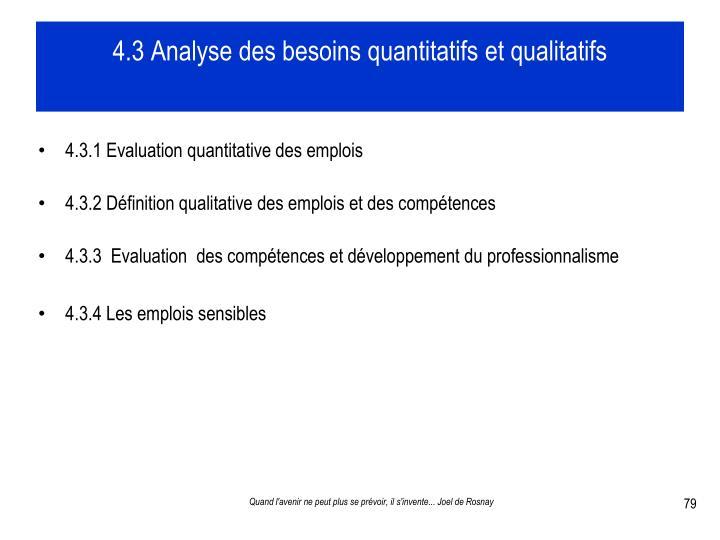 4.3 Analyse des besoins quantitatifs et qualitatifs