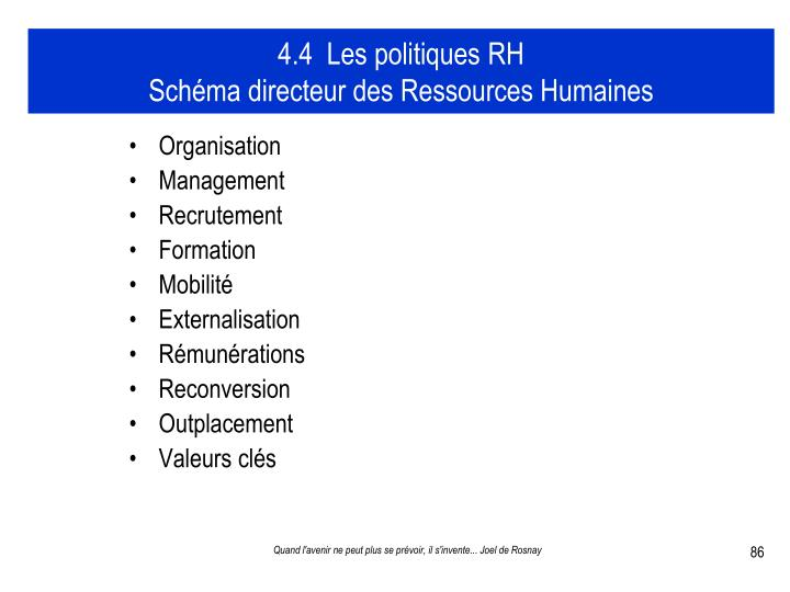 4.4  Les politiques RH