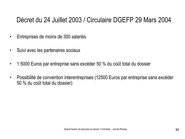 Décret du 24 Juillet 2003 / Circulaire DGEFP 29 Mars 2004