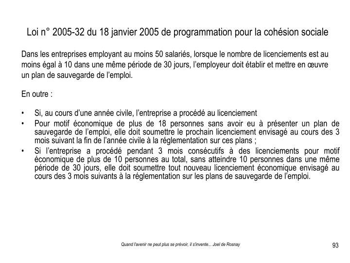 Loi n° 2005-32 du 18 janvier 2005 de programmation pour la cohésion sociale
