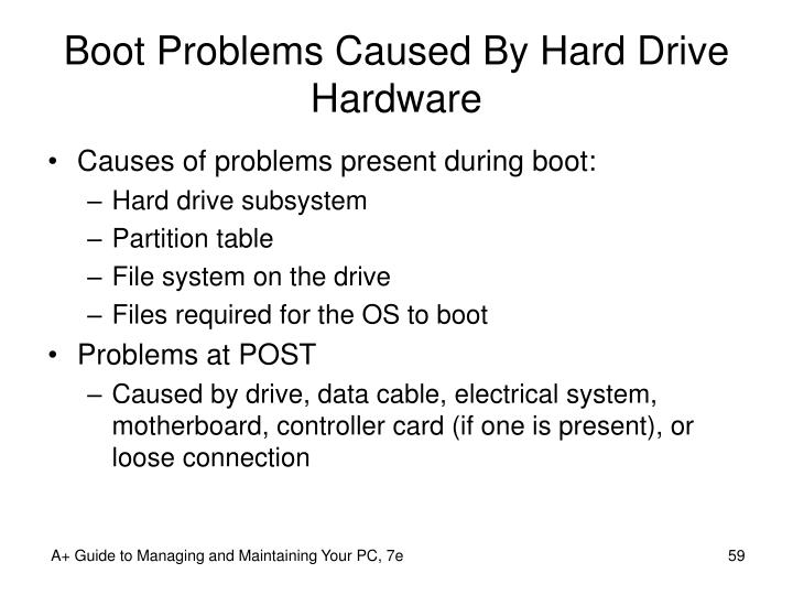 Boot Problems Caused By Hard Drive Hardware