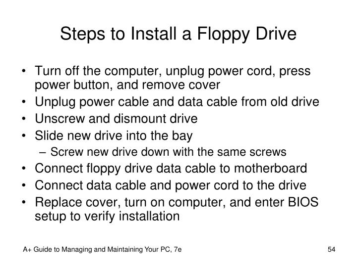 Steps to Install a Floppy Drive