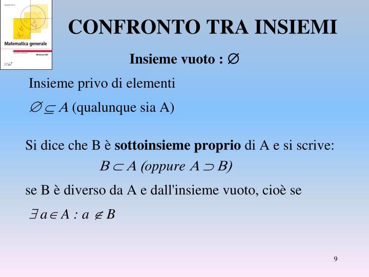 CONFRONTO TRA INSIEMI