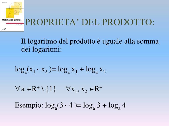PROPRIETA' DEL PRODOTTO: