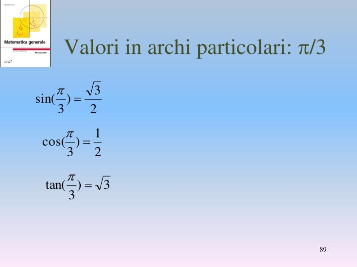 Valori in archi particolari:
