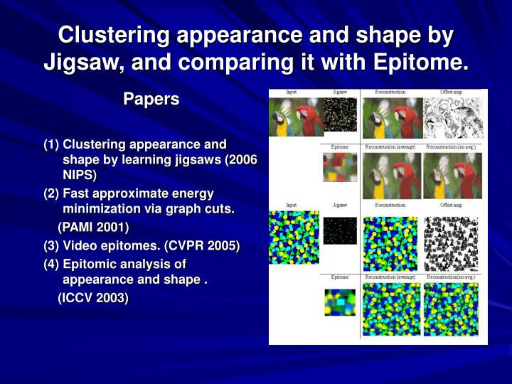 clustering appearance and shape by jigsaw and comparing it with epitome n.