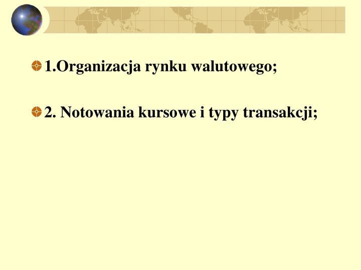 1.Organizacja rynku walutowego;