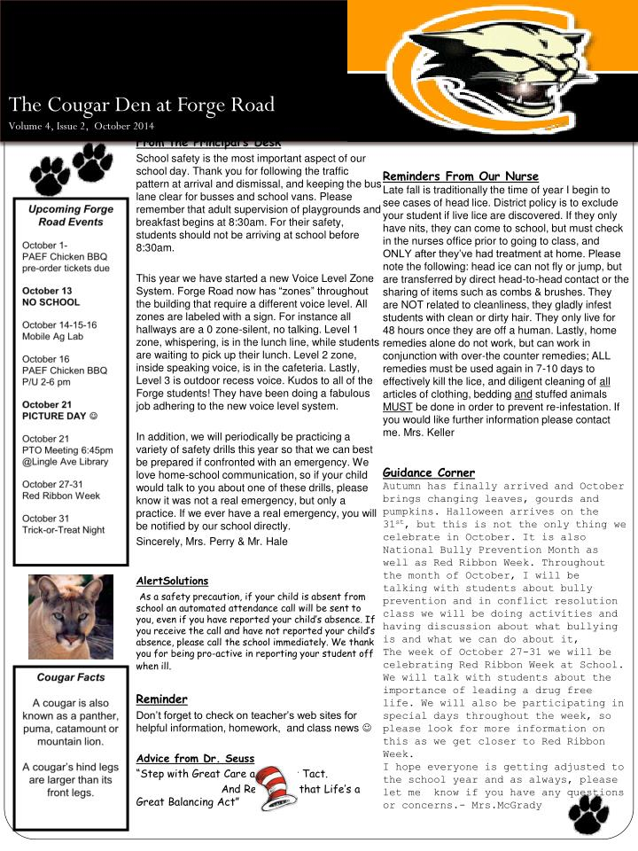 the cougar den at forge road volume 4 issue 2 october 2014 n.