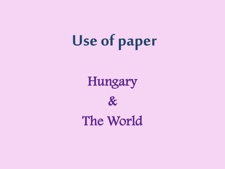 use of paper n.
