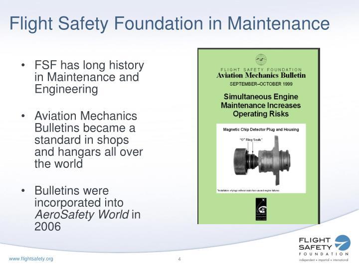 Flight Safety Foundation in Maintenance