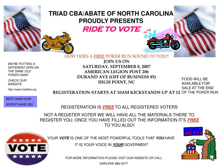 triad cba abate of north carolina proudly presents ride to vote n.