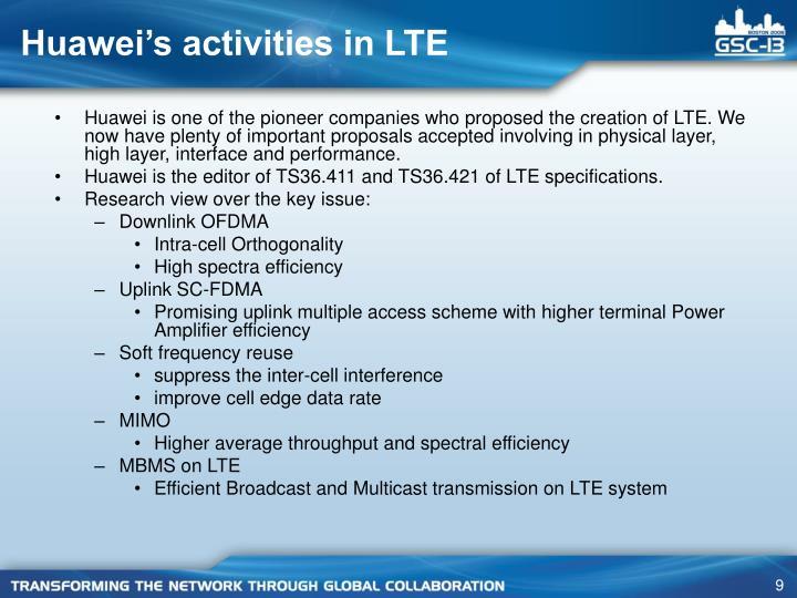 Huawei's activities in LTE