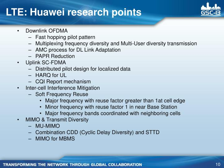 LTE: Huawei research points