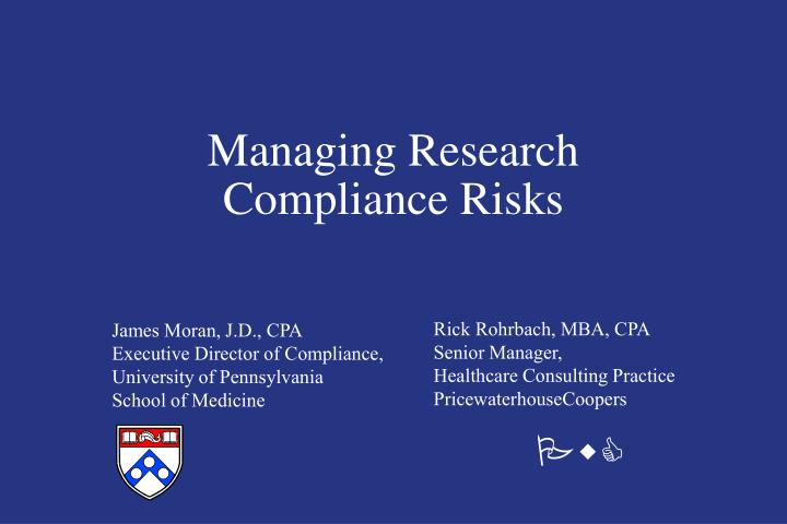 managing research compliance risks n.