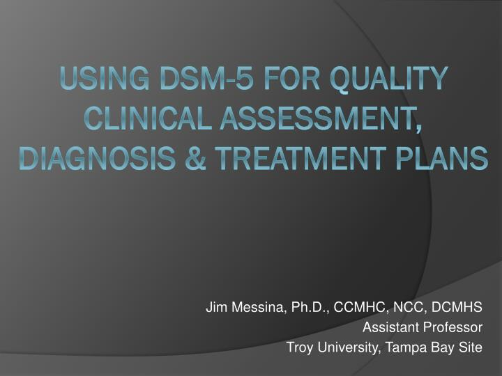 jim messina ph d ccmhc ncc dcmhs assistant professor troy university tampa bay site n.
