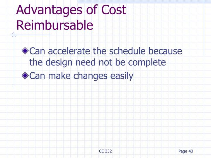 Advantages of Cost Reimbursable